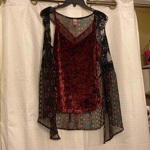 Velvet cami with sheer print and lace cover blouse